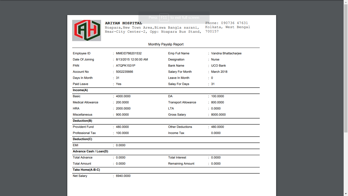 How To Generate Payslip In DVNAPMS 2014 Page – Monthly Pay Slip